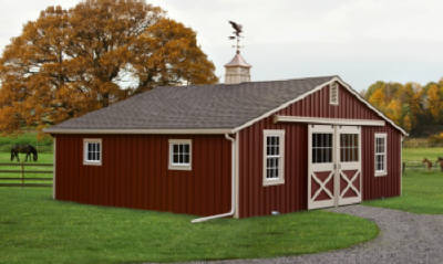 Image Of Red Trail-side Barn Horse Stalls Fleetwood, PA - Eastern Building Products