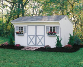Image Of White Quaker Sheds Reading, PA With Blue Trim - Eastern Building Products