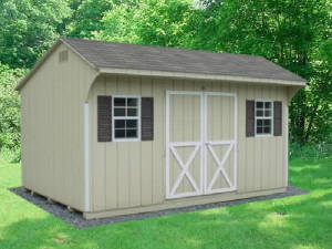 Image Of Almond Quaker Sheds Allentown, PA With Brown Shutters - Eastern Building Products